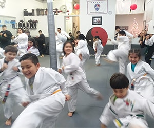 preschool kids in elgin martial arts class
